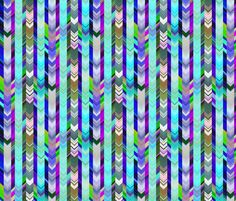 CRAZY CHEVRONS ARROWS TURQUOISE OCEAN SEA fabric by paysmage on Spoonflower - custom fabric