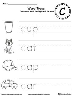 words starting with letter c  enducation lesson  pinterest  trace words that begin with letter sound c teach the beginning letter  sound by letter c worksheetskindergarten worksheetspreschool worksheets