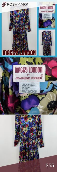 💙HP💙 Vintage Maggy London Floral Dress 🚨This item is a Host Pick!🚨  Check out this 80s vintage Maggy London dress by Jeannene Booher  It has long sleeves and is made from 100% silk. It has a sash detail at the waist that can be worn on the front or back (pictured at front).  Size 14  We will consider all reasonable offers. Thanks for shopping with us! Maggy London Dresses Long Sleeve