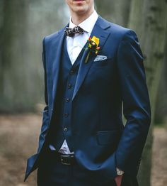 Three pieces wedding suit - navy, with bow tie