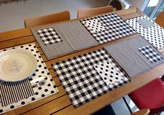 Placemats patchwork. Black and white.