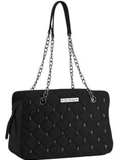 """Women's """"Quilted Skull"""" GG Rose Handbag by Rock Rebel (Black) #InkedShop #skull #quilted #handbag #purse #bag"""