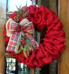 Burlap Wreath, Christmas wreath, Christmas Burlap Wreath, Rustic country Christmas, Red Burlap, Holiday wreath, Christmas door wreath by WreathChick on Etsy https://www.etsy.com/listing/208700038/burlap-wreath-christmas-wreath-christmas