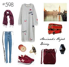 """""""#598 London Trip"""" by aminahs-hijab-diary ❤ liked on Polyvore featuring H&M, New Balance, Mansur Gavriel, Noir Jewelry and Anthropologie"""