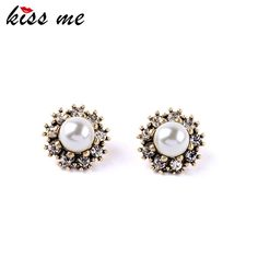 Cheap pearl professional, Buy Quality pearl bridesmaid earrings directly from China pearl design Suppliers: KISS ME Ancient Pop Royal Style Flower Simulated Pearls Earrings Factory Wholesale