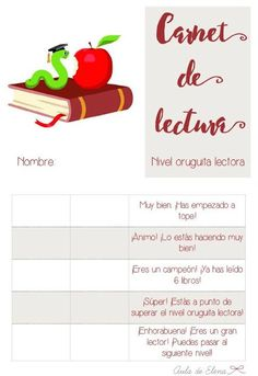 Carnet de lectura nivel ORUGUITA LECTORA del blog Aula de Elena. Descargable gratis.