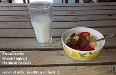 Another healthy snack:)  #strawberries #oatmeal #oatmealcookies #greekyoghurt #healthyandtasty #health #healthysnacks #coconutmilk