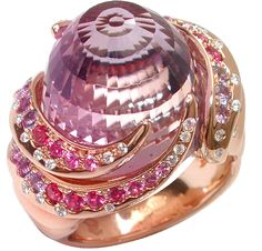 Nausicaa ring in pink gold, diamonds, amethyst and pink sapphires