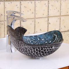 ELITE Pacific Whale Pattern Tempered Glass Bathroom Vessel Sink - Overstock Shopping - Great Deals on Elite Bathroom Sinks Glass Vessel Sinks, Vessel Sink Bathroom, Glass Bathroom, Modern Bathroom, Kitchen Sink, Pedestal Sink, Bathroom Fixtures, Beautiful Bathrooms, Bathroom Ideas