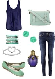 Blue tank, purse, shoes❤ I LOOVVEE mint green and navy blue together.