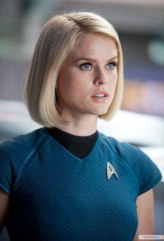 Dr. Carol Marcus - Alice Eve in Star Trek Into Darkness (2013). Backward step Star Trek stripping to underwear crying  failing
