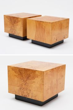 Milo Baughman Cube Tables USA, 1970s / Pair of beautiful Milo Baughman cube side tables made of burl olive wood and with black lacquered bases.
