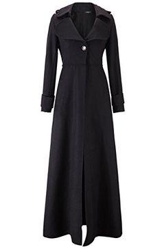 EkarLam Women's Full Length Woolen Blend Jacket Slim Trench Wind Parka Coat (Black) US XL(Tag XXL)