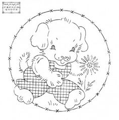 Puppy - Vintage redwork transfer pattern