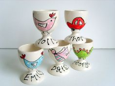 Egg Cup Handpainted and Personalized by PurpleGlazePotteryUK