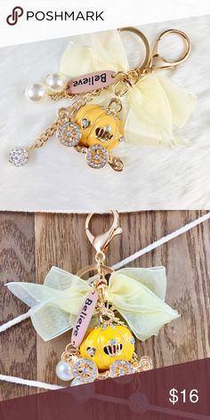 💛Yellow Pumpkin Carriage Keychain💛 ✨Little yellow pumpkin Carriage Keychain✨  💗Bundle 3 items or more to receive 10% discount  🎁Free 1 pair of mystery earrings with every purchase   🚚Free shipping with an order of $35 or more!! Accessories Key & Card Holders
