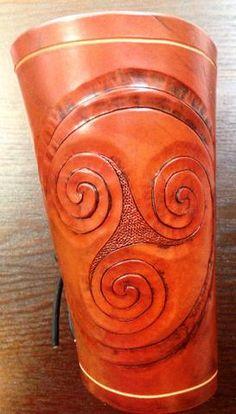 Pair of Handmade Leather Celtic Triskellion Bracers