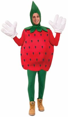 Strawberry Fruit Mascot Costume - Let's JAM! Be a fun fruit this Halloween with this two-piece Strawberry costume.  This awesome fruit costume is a polyfoam tunic. It's robust shape is a round, fresh-picked-from-the-garden juicy strawberry. A green leafy collar is attached to the costume and matches the polyfoam headpiece. The headpiece is a hood that covers the head and Velcros under the chin. #strawberry #food #yyc #costume