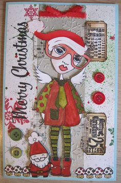 Christmas card using Dylusions, Lawn Fawn and Tim Holtz. Coloured with Distress Markers. Embossed using Cuttlebug.