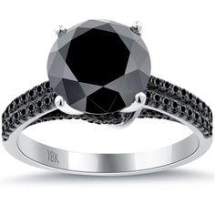 3.81 Carat Certified Natural Black Diamond Engagement Ring 18k White Gold
