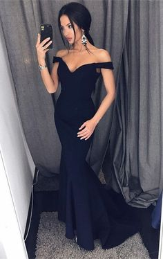 elegant mermaid off the shoulder prom dress with sweep train, bodycon mermaid off the shoulder party dress with sweep train