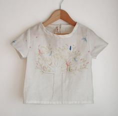 Swallow Return's Bird-in-Tree Top: Available in sizes for toddlers 2-5, the Swallows Returns bird-in-tree top ($28) is made from lightweight, slightly sheer cotton gauze fabric with a print of birds in a tree on the front and dots and birds on the back and sleeves.