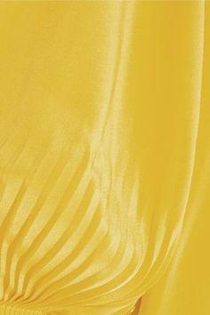 Tibi - Oversized Cutout Silk Crepe De Chine Midi Dress - Bright yellow - US10