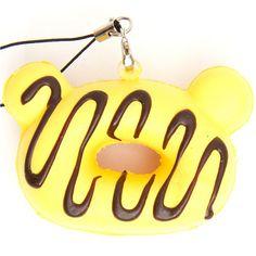 yellow Rilakkuma donut squishy cellphone charm chocolat