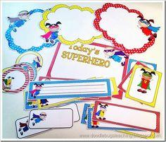 Super Heros!!! door decorations, desk plates, cards, calendar stuff, classroom theme