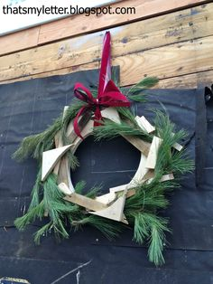 "That's My Letter: ""W"" is for Workshop, wood construction wreath"