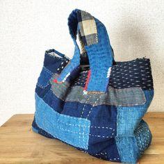 Japanese Boro Tote Bag/ Sashiko Bag/ Everyday Bag/ Shopping Bag/ Indigo Tote Bag/ A4/ Kasuri/ Japanese Indigo Bag/ Kawaii