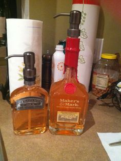 Liquor bottle soap dispensers