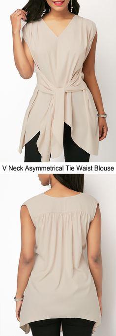 V Neck Asymmetric Hem Tie Waist Blouse #liligal #blouse #shirts #top #womenswear #womensfashion