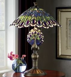 Tiffany Peacock Feather Table Lamp - Ideas on Foter Stained Glass Lamps, Glass Table, Stained Glass Table Lamps, Glass Table Lamp, Victorian Lamps, Chandelier Lamp, Tiffany Style Lamp, Tiffany Lamps, Peacock Lamp