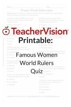 Famous Women World Rulers Quiz - Women's History Month Printable - Grade) Educational Videos, Educational Activities, Kingdom Names, Spring Activities, Multiple Choice, Women's History, Famous Women, Ruler, Social Studies