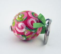 Hand Painted Personalized Ball Key Fob (Pink Lilly Pulitzer inspired)
