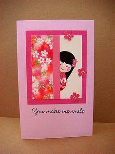 handmade greeting card by Donna Mikasa ... Asian theme ... cute card ... little girl peeking from behind an screen ...