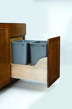 Rev-A-Shelf 4WCSD-1835DM-2 4WCSD Series Double 35 Quart Wood Bottom Mount Waste Natural Wood Trash Cans 2 Bin Pull Out