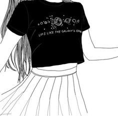 girl, outline, and grunge εικόνα
