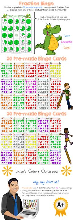 Fractions Bingo Game - Packet contains 30 randomized and uniquely themed fractions bingo cards and 2 fractions bingo calling cards. There are 24 fractions and 1 free space on each fractions bingo card. Each fractions card has random fractions from 1/1 to 10/10. $