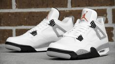 "Air Jordan 4 ""Cement"" Probably my favorite with the Fears and the fire reds Zapatos Shoes, Pumas Shoes, Nike Shoes, Shoes Sneakers, Shoes Sandals, Yeezy Shoes, Jordans Sneakers, Converse Shoes, Nike Air Jordans"