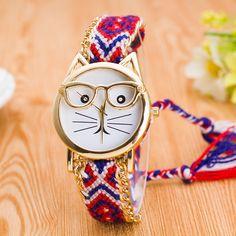 $4.86 (Buy here: https://alitems.com/g/1e8d114494ebda23ff8b16525dc3e8/?i=5&ulp=https%3A%2F%2Fwww.aliexpress.com%2Fitem%2FQuartz-Watch-Women-New-style-Braided-Bracelet-Watch-lady-WristWatch-Catface-clock-Paragraph-2016-LZ808%2F32783663908.html ) New brand fashion gold quartz watches famous women clock cute Glasses cat face Luxury wristwatch weave Bracelet relogio feminino for just $4.86