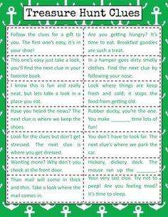 Bramble Box Clue Inspiration Sheet for Scavenger Hunt Scavenger Hunt Riddles, Easter Scavenger Hunt, Christmas Scavenger Hunt, Scavenger Hunt Birthday, Scavenger Hunt For Kids, Christmas Games, Halloween Scavenger Hunt, Boyfriend Scavenger Hunt, Christmas Gift Hunt
