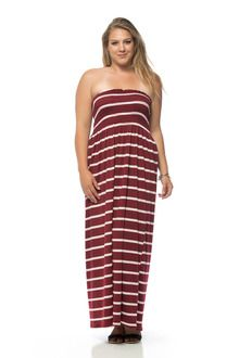 Maroon/Light Pink Striped Banded Long Plus Size Maxi Dress