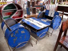 Fuel drums upcycled into furniture in Bali, Indonesia Garage Furniture, Barrel Furniture, Iron Furniture, Buy Furniture Online, Furniture Removal, Apartment Furniture, Hanging Swing Chair, Swinging Chair, Metal Barrel