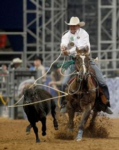 Trent Creager competes in the Tie_Down Roping in the Super Series II rodeo competition at Reliant Stadium in Houston, Texas. Photo By Thomas B. Shea/For the Chronicle Rodeo Cowboys, Real Cowboys, Black Cowboys, Houston Livestock Show, Western Horseman, Rodeo Events, Professional Bull Riders, Houston Rodeo, Rodeo