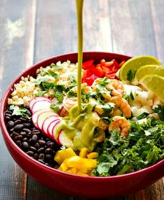 Chopped Salad with Cumin Shrimp and Cilantro Lime Dressing – this delicious recipe is filled with a long list of amazing ingredients. Click here to discover what they are!