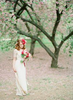 Boho Wedding Hair, Wedding Hair And Makeup, Hair Makeup, Wedding Dresses, Wedding Makeup Artist, Intimate Weddings, Central Park, Cherry Blossom, Wedding Hairstyles