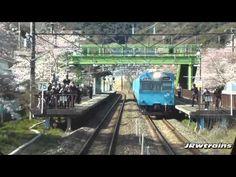 山中渓の桜 283系特急くろしお1号の前面展望より - YouTube