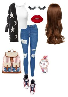 """""""Senza titolo #442"""" by ambrafalcone ❤ liked on Polyvore featuring Topshop, Converse, Arizona and Lime Crime"""